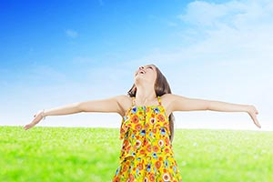 Cheerful Happy Little Girl Arms outstretched