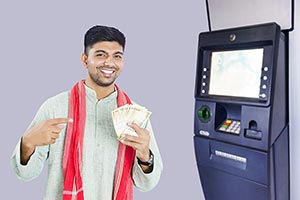 Rural Man Withdrawing Money ATM