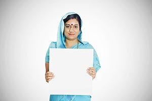 Rural Woman Holding Message Board