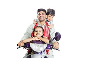 Rural Father Children Riding Scooter