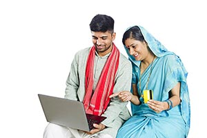Rural Couple Shopping Online Laptop Credit card
