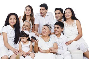 Group Indian Joint Family Watching Tv