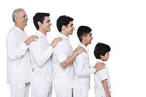 Indian Family Standing Line Order Age