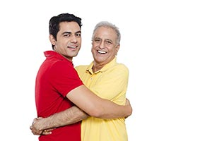 Happy Indian Father Son Hugging
