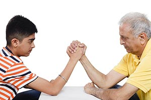 Boy Grandfather Arm wrestle Competition