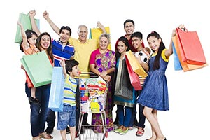 Joint Family Shopping Bags Cart Departmental Store