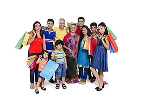 Happy Group Family Shopping Bags
