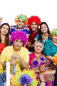 Group Big family Television Cricket Enjoy