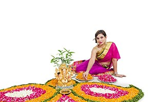 Indian Lady Decorating Rangoli Diwali