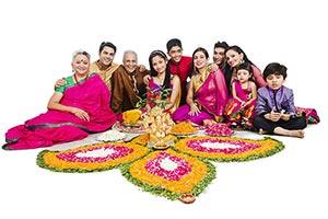 Joint Family Sitting Rangoli Diwali Celebrating