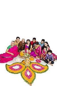 Indian Joint Family Celebrating Diwali Festival