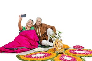 Old Couple Rangoli Diwali Taking Selfie