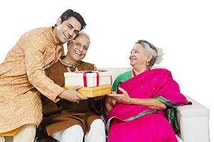 Indian Son Parents Giving Gifts Present Diwali