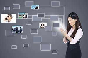 Businesswoman Tablet Digitally Enhanced