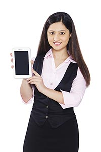 Businesswoman Tablet pc Showing