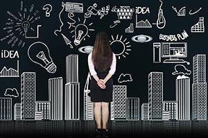 Businesswoman Piechart Digitally Enhanced