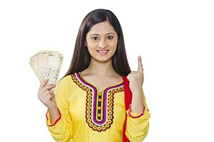 Indian woman Money Pointing