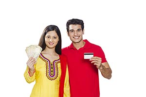 Indian Couple Money Credit card