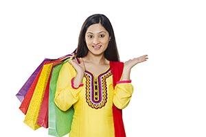 Indian Woman Shopping Bags