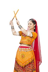 Indian Gujarati Woman Dandiya Sticks