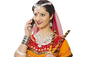 Gujarati Woman Talking Mobile Phone