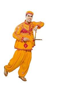 Gujrati Man Dancer Performing Dandiya