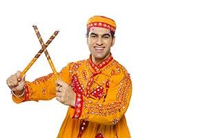 Indian Gujarati Man Dandiya Sticks