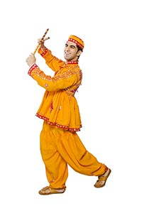 Indian Man Traditional Clothes Performing Dandia