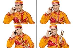 Montage Gujrati Man Talking Mobile Phone