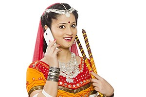Rajasthani Woman Navratri Talking Mobile Phone
