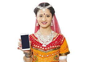 Indian Rajasthani Woman Showing Quality Smartphone