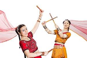 Women Playing Dandiyas Garba Navratri Festival