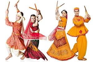 Couples Performing Dandiya Navratri Garba Festival