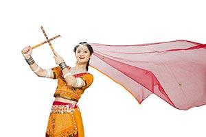 Gujarati Woman Dancing Dandiya Navratri Garba