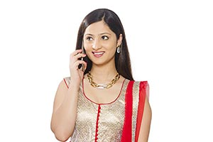 Traditionally Indian Woman Talking Cell phone