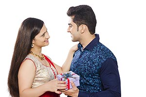 Happy Woman Receiving Gift Husband Diwali