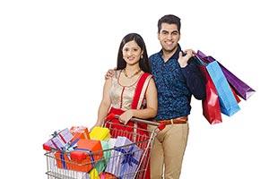 Couple Shopping Bags Cart Gift Diwali