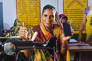 Rural Women Workar Tailor Talking Phone