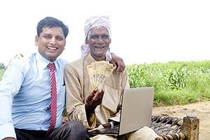 Businessman Farmer Money Showing