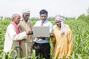 Businessman Farmers Farm Laptop