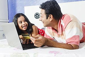 Indian Father Child Buying Online
