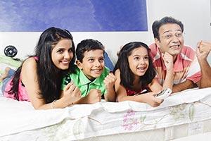 Parents Children Watching Television