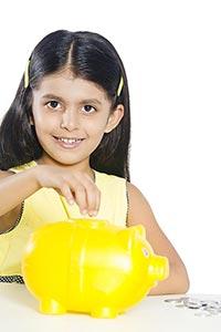 Child Girl Inserting Money Piggybank