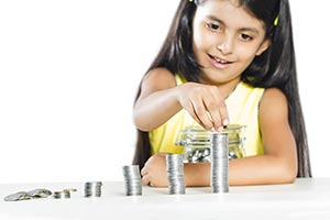 Little Girl Money Coin Collecting