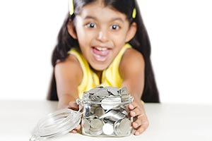 Child Girl Coin Money Jar