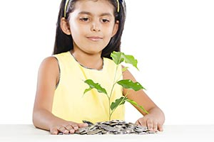 Kid Girl Plant Growing Pile Coins