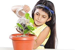 Little Girl  Potted Plant Pouring Coins
