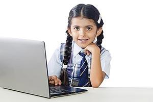 School Little Girl Using Laptop Education