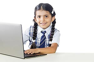 Indian School Child Girl Laptop