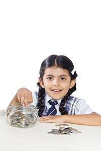 School Child Girl Saving Money Jar
